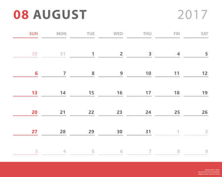 event planning: Calendar planner 2017 august, week starts sunday, vector design template