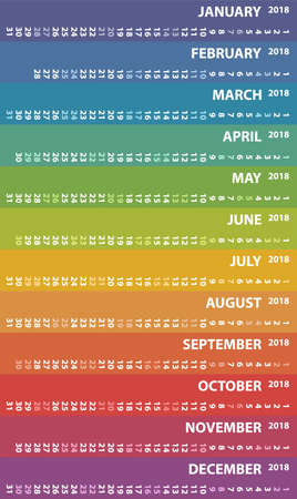 selected: 2018 calendar with vertical rows, vector design calendar starts monday with selected saturday and sunday Illustration