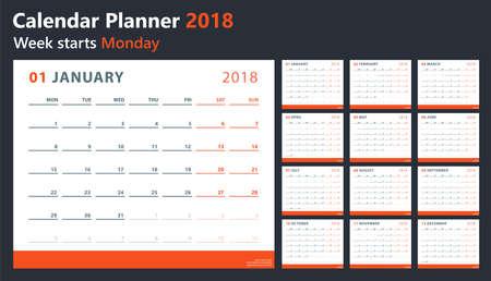 kalender 2018 begint maandag, vector kalenderontwerp 2018 jaar Stock Illustratie
