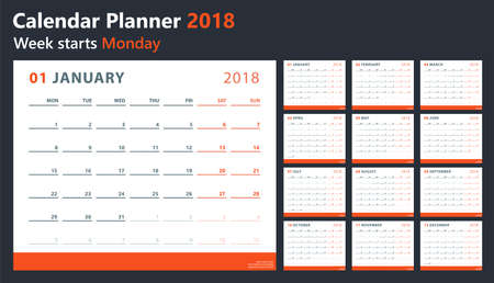 calendar 2018 starts monday, vector calendar design 2018 year