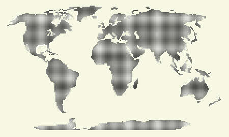 oceania: dotted world map vector illustration, world map of round dots