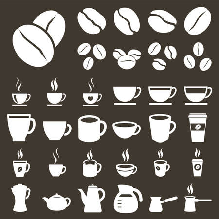 Coffee icons set, coffee beans and cups icons