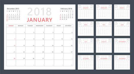 planner: Calendar planner for 2018. Illustration