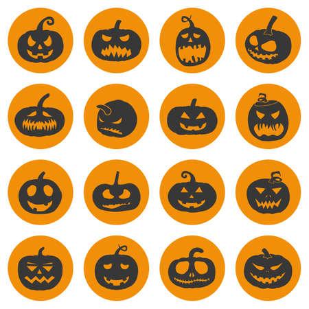 Halloween pumpkins icons set, vector illustration on white background