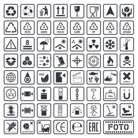 cargo symbols set, packaging icons Illustration