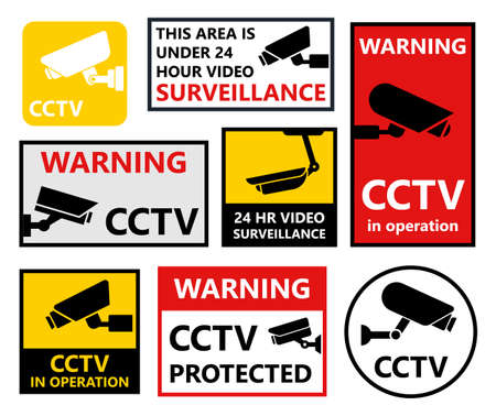 private security: CCTV stickers set, security camera symbols and signs Illustration