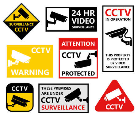 private security: Security camera stickers set, cctv protection symbols