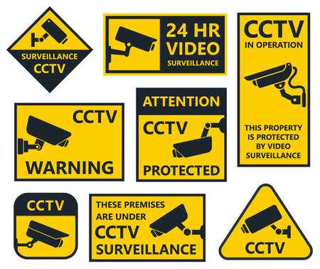 monitor: cctv sign, security camera stickers