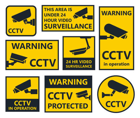 security camera signs, cctv stickers Stok Fotoğraf