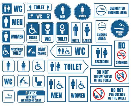 WC vector tekenen set, toilet wc-stickers Stock Illustratie