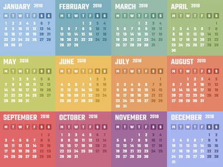 event planner: Calendar design 2018 year