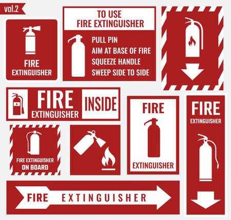Fire extinguisher labels and signs