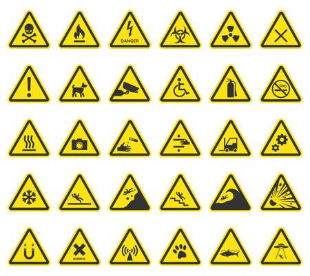 Warnzeichen, Vorsicht Symbole Vektorgrafik