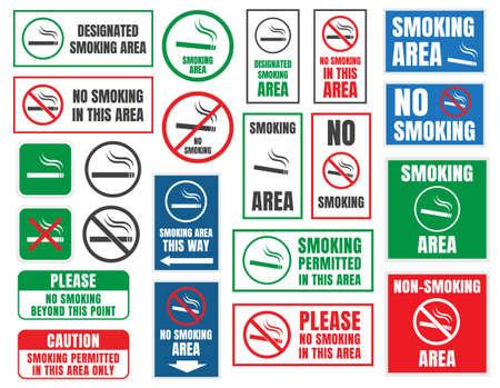 Set of labels of cigarette is not allowed. Illustration