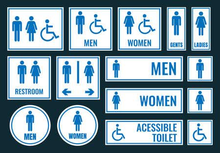 Toilettenikonen und Toilettenzeichen, WC-Aufkleber