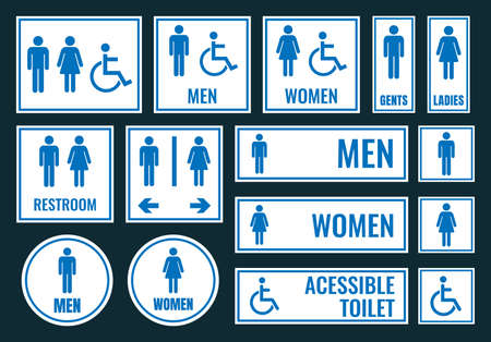 Toilet icons and restroom signs, wc labels Stock Illustratie