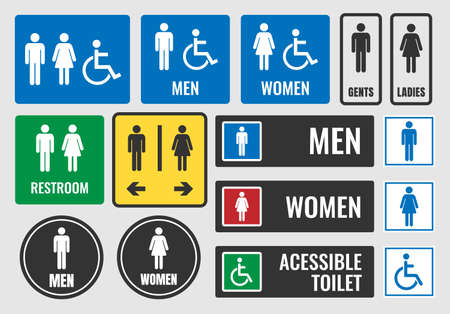 Restroom labels. Illustration