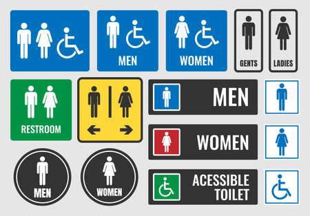 Restroom labels. Illustration