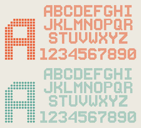Retro pixel font, dotted alphabet and numbers Illustration