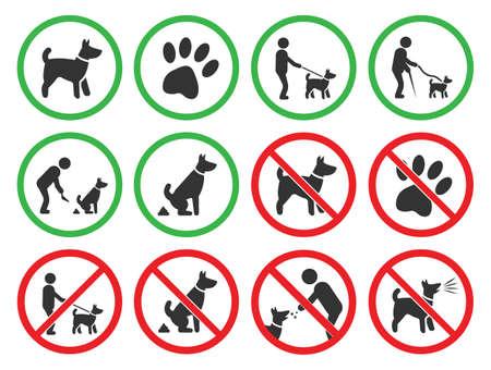 perros amistosos y signos de restricción de perro, perros iconos prohibidos Ilustración de vector