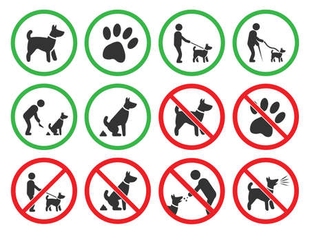 dog friendly and dog restriction signs, dog prohibited icons Vettoriali