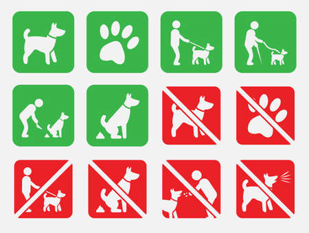 no dogs and dog allowed signs, no fouling Banque d'images - 92231381