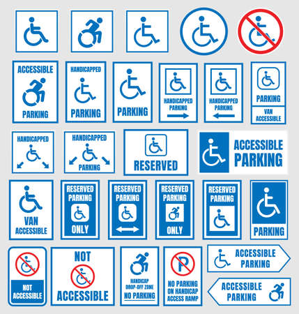 Accessible parking signs, disabled people parking icons.