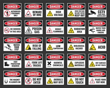 Danger sign with warning text, danger label.