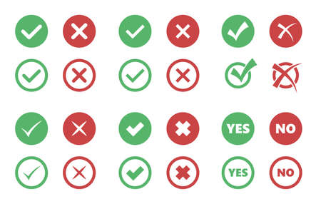 A tick and cross icons, check box signs