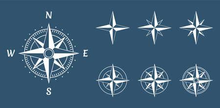 Wind rose compass icons set Иллюстрация
