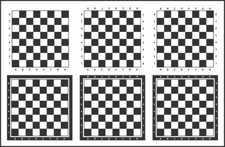 chess table, chess board vector set, black and white