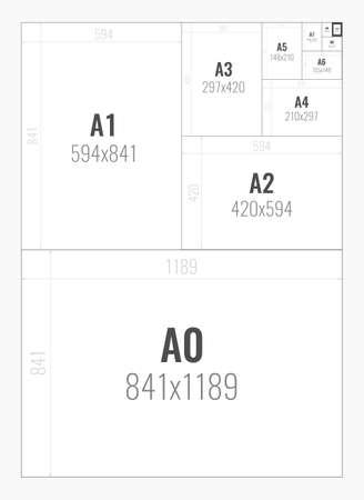 Format de papier du format série A de A0 à A10 Banque d'images - 100053531