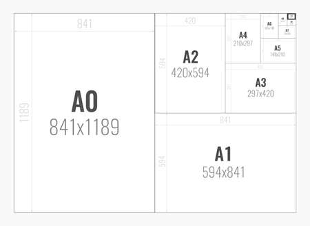Standard paper sizes A series from A0 to A10 Illustration