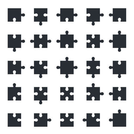 Puzzle piece icons, all possible shapes of jigsaw pieces
