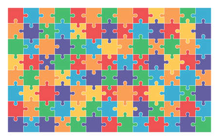 Jigsaw puzzle set of 104 colorful pieces in vector