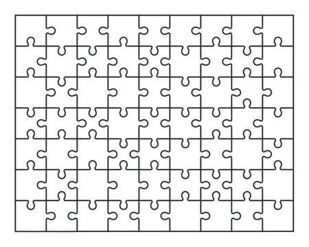 Puzzle-Stichsäge-Satz von 63 Stück, Vektorillustration Vektorgrafik
