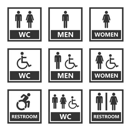 restroom signs and toilet icons  イラスト・ベクター素材