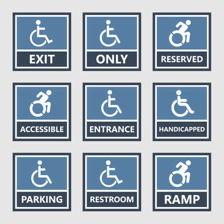 handicap icons, parking and toilet signs, disabled people