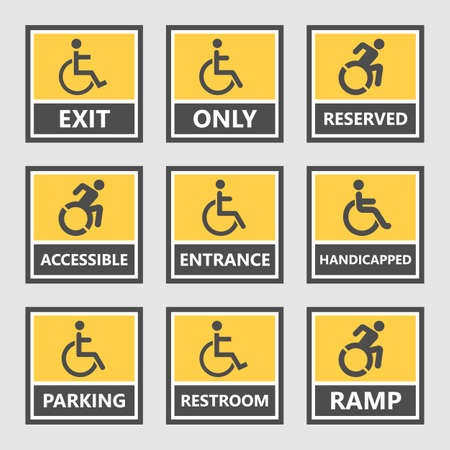 handicap labels and signs, disabled people icons and stickers