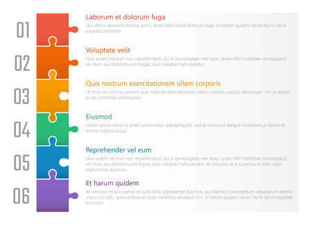 numbered list template, chart table vector design with colorful puzzles Ilustração