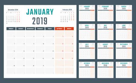 calendar for 2019 starts monday, vector calendar design 2019 year 스톡 콘텐츠