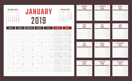 calendar for 2019 starts monday, vector calendar design 2019 year 스톡 콘텐츠
