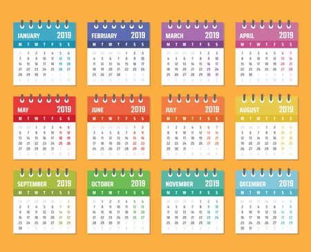calendar for 2019 starts monday, vector calendar design 2019 year Banque d'images