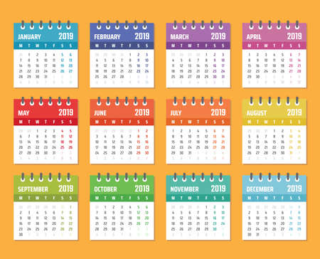 calendar for 2019 starts monday, vector calendar design 2019 year 스톡 콘텐츠 - 106182564