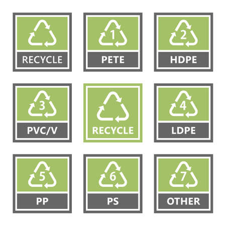 Plastic recycling symbols and icons, vector illustration