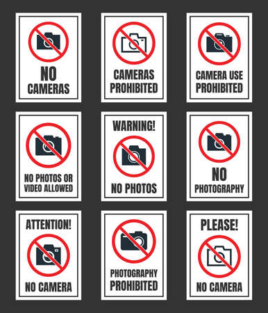 no camera use sign, photo prohibited signboard, no photography