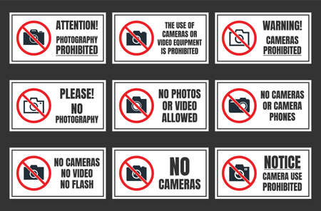 no photo sign, photography prohibited signboard, no camera Vettoriali