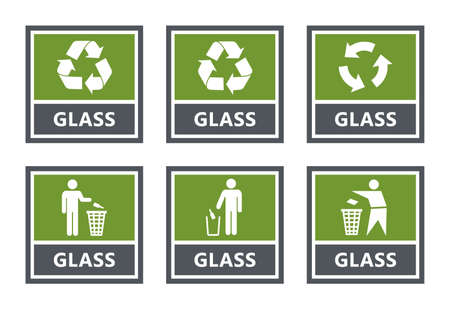 Glass recycling labels set, waste sorting icons Ilustração
