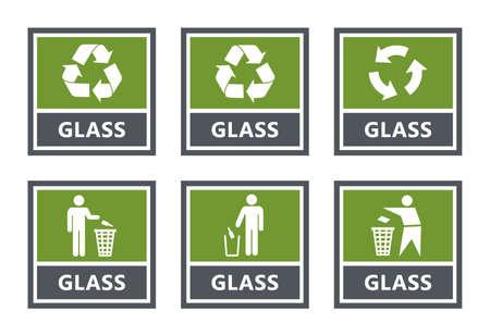 Set di etichette per il riciclaggio del vetro, icone per la raccolta differenziata dei rifiuti Vettoriali