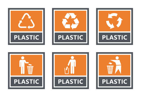 plastic recycling labels set, waste sorting icons